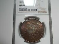 1886 NGC MINT STATE 64 MORGAN SILVER DOLLAR GOLDEN/STEEL BLUE OBVERSE