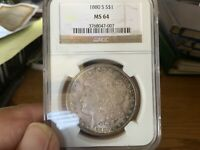 1880 S MORGAN SILVER DOLLAR MINT STATE 64 TONED