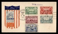 DR WHO 1937 FDC ARMY/NAVY HEROES CACHET COMBO SPECIAL DELIVE