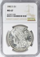 1882-S $1 MORGAN SILVER DOLLAR, NGC MINT STATE 67