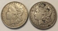 1921 MORGAN SILVER DOLLARS LOT OF TWO 1921-P & 1921-S