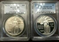 1996-S NCS NATIONAL COMMUNITY SERVICE SILVER PCGS MINT STATE 69 & PR69 PF69 2-COIN SET