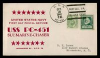 DR WHO 1940 USS PC 451 NAVY SUBMARINE CHASER FIRST DAY POSTA