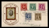 DR WHO 1940 FDC FAMOUS AMERICANS SERIES COMBO HAND MADE CACH