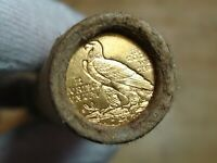ONE  FRB DENVER LINCOLN WHEAT 50 PENNY ROLL D GOLD QUARTER