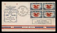 DR WHO 1938 FDC AIRMAIL BLOCK ST PETERSBURG FL NAMW AIRMAIL