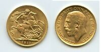 1911 GREAT BRITAIN GOLD SOVEREIGN GEORGE V UNC FULL LUSTER