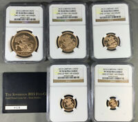 2015 GREAT BRITAIN GOLD SOVEREIGN FIVE COIN SET NGC PF70 UCA