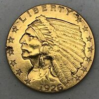 1926 $2.50 DOLLAR UNITED STATES INDIAN HEAD QUARTER EAGLE GOLD COIN $2 1/2