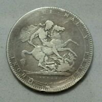 OLD 1820 LX SILVER ST GEORGE AND DRAGON CROWN COIN  GEORGE III NICE