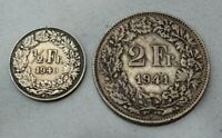 LOT OF 2 OLD SILVER 1940S SWITZERLAND SWISS COINS  1/2 FRANC   2 FRANCS NICE