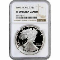 1991-S PROOF AMERICAN SILVER EAGLE $1 COIN NGC PF70