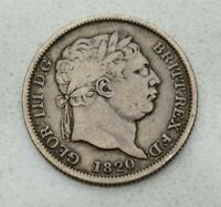 OLD 1820 BRITISH GREAT BRITAIN SILVER SHILLING 'I' OVER 'I' VARIETY NICE