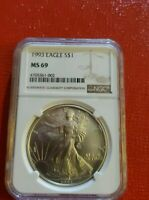 1993 AMERICAN SILVER EAGLE   NGC MINT STATE 69