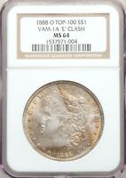 1888-O E CLASH VAM-1A NGC MINT STATE 64 MORGAN SILVER DOLLAR TOP 100 CLASHED E VARIETY