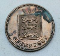 OLD GUERNSEY CHANNEL ISLAND 1885 H MARRED PROOF 4 DOUBLES COIN  NICE