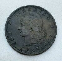 OLD 1884 ARGENTINA ARGENTINIAN 2  DOS  CENTAVOS COIN  NICE