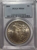 1884 $1 MORGAN SILVER DOLLAR PCGS MINT STATE 64