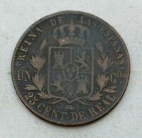 OLD 1861 SPAIN SPANISH 25 CENTIMOS COIN QUEEN ISABELLA II NICE