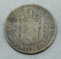 OLD 1900 SPAIN SPANISH SILVER PESETA COIN  25C SIZE  ALFONSO XIII NICE