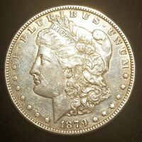 1879-S MORGAN SILVER DOLLAR REV OF '78 --- EXTRA FINE -AU DETAILS BUT HARSHLY CLEANED