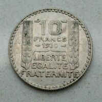 OLD 1930 FRANCE FRENCH REPUBLIC SILVER 10 FRANC COIN TURIN NICE