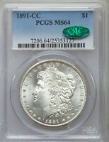 1891-CC MORGAN DOLLAR MINT STATE 64 - PCGS GOLD SHIELD SECURE & CAC