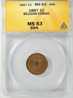 CONGO FREE STATE 1887 1 CENTIME ANACS MINT STATE 63 BN