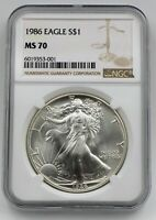1986 NGC MS70 $1 MINT STATE SILVER AMERICAN EAGLE 1 OZ .999 FIRST YEAR ISSUE ASE