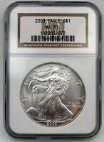 2003 1 OZ SILVER AMERICAN EAGLE NGC MS70 BROWN LABEL ASE