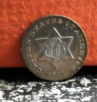 BEAUTIFUL FIRST YEAR 1851 SILVER THREE CENT PIECE / TRIME