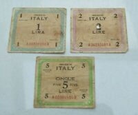 LOT OF 3 OLD 1943 ITALY ITALIAN ALLIED MILITARY CURRENCY NOTES  AMC  WWII NICE