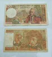 LOT OF 2  OLD 1970 74 FRANCE FRENCH 10 FRANC BANKNOTES VOLTAIRE NICE