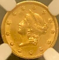 1853 GOLD $1 ONE DOLLAR LIBERTY HEAD GOLD COIN NGC AU55