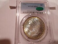 1896 MORGAN $1 PCGS MINT STATE 63 - BLUE/GREEN/GOLD OBVERSE, BROWN/BLUE GREEN OBV. - CAC