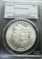 1904-O  MORGAN SILVER DOLLAR  PCGS MINT STATE 64  OLD BLUE HOLDER