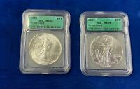 1986 AND 1987 AMERICAN SILVER EAGLE  - ICG MINT STATE 69