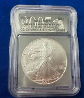 2007 AMERICAN SILVER EAGLE ICG MS70 FIRST DAY OF ISSUE