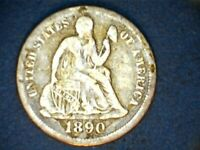 1890 LIBERTY SEATED SILVER DIME
