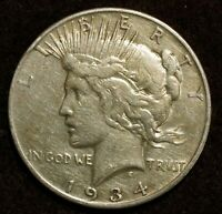 1934-S PEACE DOLLAR SAN FRANCISCO MINT U.S. 90 SILVER COIN SEMI KEY DATE