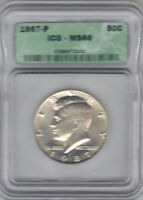 1987-P CLAD KENNEDY HALF DOLLAR ICG MINT STATE 66 MINT SET COIN TMM