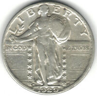TMM 1929-D UNCERTIFIED STANDING LIBERTY QUARTER EF