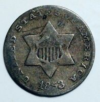 1853 SILVER THREE CENT U.S. COIN PHILADELPHIA MINT TYPE 1 NO OUTLINES TO STAR