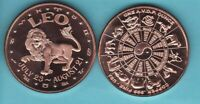 LEO  SIGN OF THE ZODIAC  1 OZ. COPPER ROUND COIN   YIN/YANG