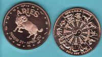 ARIES  SIGN OF THE ZODIAC  1 OZ. COPPER ROUND COIN  YIN / YANG