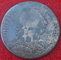 1735 EVASION  HALFPENNY. GEORGE III HEAD ON A GEORGE II DATE. THIN FLAN   504
