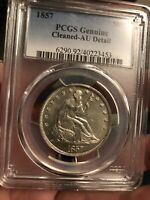 1857 SEATED LIBERTY HALF PCGS AU DETAIL CLEANED