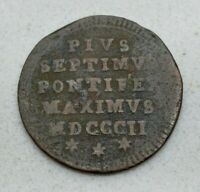 OLD 1802 ITALIAN STATES PAPAL STATES  VATICAN  MEZZO  1/2  BAIOCCO COIN