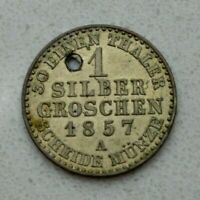 OLD 1857 GERMAN STATES GERMANY PRUSSIA SILVER SILBER GROSCHEN COIN  NICE
