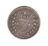 1841 GREAT BRITAIN QUEEN VICTORIA  STERLING SILVER THREEPENCE.